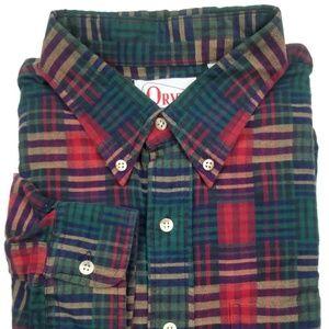 Vintage Orvis Patchwork Madras Plaid Shirt Size XL